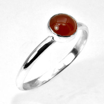 Carnelian Silver Ring,  Red Carnelian Cabochon Stacking Ring in Sterling