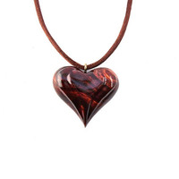 Wood Heart Necklace, Wooden Heart Pendant, 5th Anniversary Gift, 5th Anniversary Gift, Heart Necklace, Carved Wood Pendant, Wood Jewelry