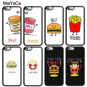 MaiYaCa BFF Best Friends Burger and Fries Food Funny Soft Rubber Phone Cases For iPhone 6 6S 7 8 Plus X 5 5S SE Back Cover Coque