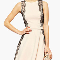 Apricot Sleeveless with Eyelash Lace Accent Skater Dress