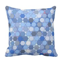 Hexagons in Shades of Blue Throw Pillow