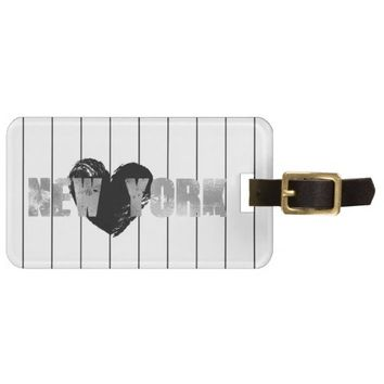 Metallic Silver New York Luggage Tag
