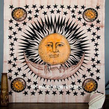 Tapestry wall Hanging, Sun Moon Tapestries, Hippie Tapestries, Bohemian Wall Tapestries, Boho Tapestry Throw, Dorm Bed Spread, Wall Decor