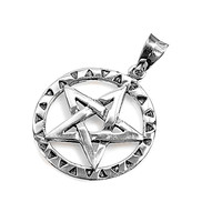 "Sterling Silver Wicca Traditional Pentagram Pendant 32MM (Free 18"" Chain)"