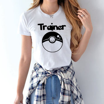 2017 T-Shirt Women Pokemon Trainer Print Harajuku Fashion Product Clothes  Tee Japanese Hipster Geek T Shirt for Female