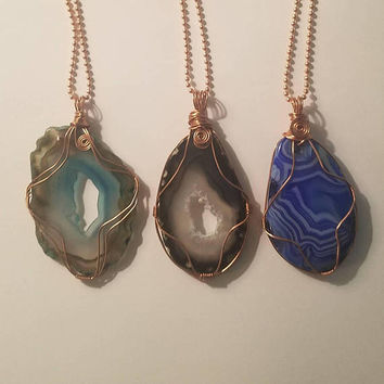 Copper Wire Wrap Agate Druzy Slice Pendant Necklace Jewelry Mineral Geode Boho Blue Freeform Agate Black Agate Polished