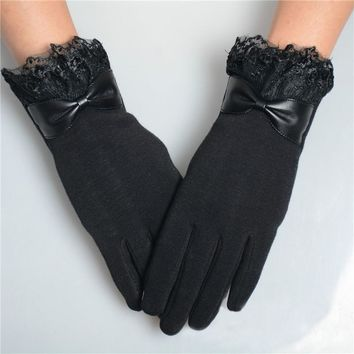 Fashion Women Girl Solid 5 Colors Bowknot Lace Mitten Winter Warm Touch Screen Gloves Clothing Accessorise