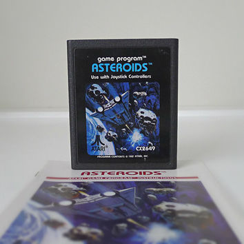 "1980s Atari Game, ""Asteroids"", with Original Instructions - classic video game, old skool, geekery, for him, space, sci fi, nerd"