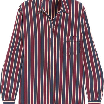 GANNI - Striped silk crepe de chine shirt