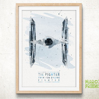 Twin ion Engine Fighter, Star Wars - Watercolor, Art Print, Nursery Wall decor, Watercolor Print, Star Wars Poster