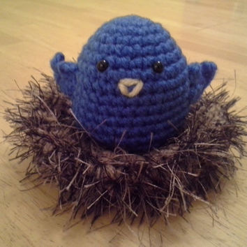 Baby Bird In A Nest- Crochet Amigurumi Stuffed Animal Plush- Various colors