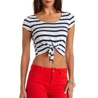 SHORT SLEEVE TIE-FRONT STRIPED CROP TOP