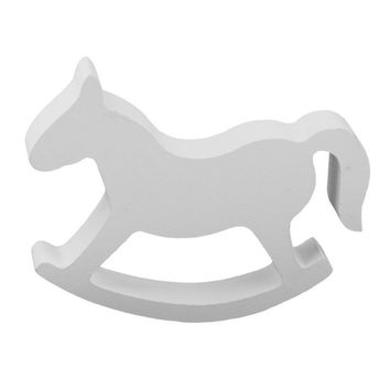 White Wooden Small Rocking Horse Balance Home Decor Kids Toys wood hand Carved Gifts Children's Room Decoration Crafts Horse