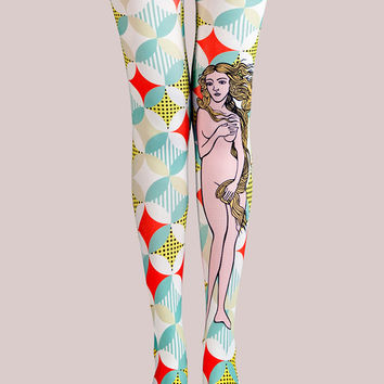 Multicolor Venus Print High Waist Tights