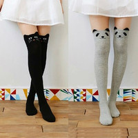 Women Girl Cotton Over Knee Knitted Winter Cat Socks