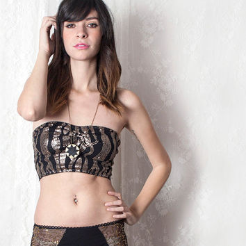 Croped SEQUINED TUBE Top. Black Bandeau with Lace Back. Bra top. Unique Lingerie