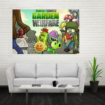 Nice Plant vs Zombies Poster Custom Canvas Poster Art Home Decoration Cloth Fabric Wall Poster Print Silk Fabric Print