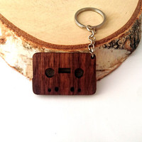 Tape Wooden Keychain, Walnut Wood, Cassette Keychain, Custom Engraved Keychain, Environmental Friendly Green materials