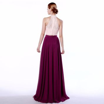 Simple Halter Chiffon A Line Sleeveless Evening Dresses Two Pieces Lace Zipper Floor Length Evening Dress