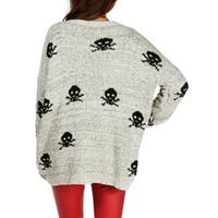 Sale-oatmeal/black Skull Oversized