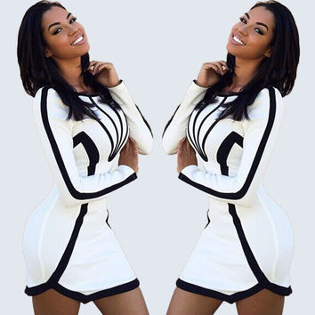 White with Black Trim Long Sleeve Bodycon Mini Dress