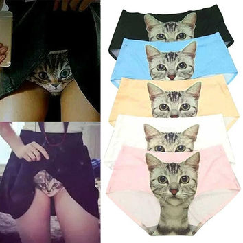 Women's Fashion Creative Underwear Sexy Panties Anti Emptied Cat Printed Seamless Briefs Underpants