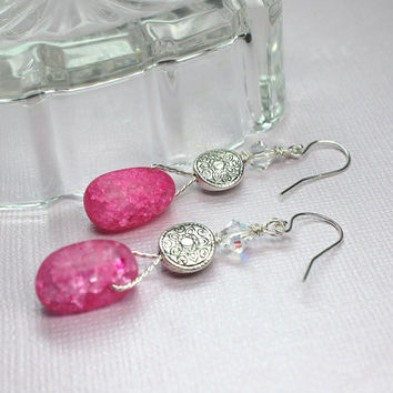 Pink Quartz Earrings, Cracked Crystal Quartz, Pink Dangle Earrings, Protection Stones, Pink Stone Earrings