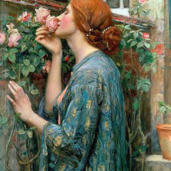 Neo Classical figurative painting canvas portrait poster beauty picture giant picture home decor The Soul of the Rose, 1908
