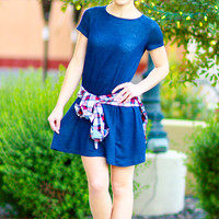FALL BREAK TSHIRT DRESS IN DENIM