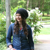Slouchy Hat Beanie Crochet Slouchy Style Hat Dark Charcoal Gray