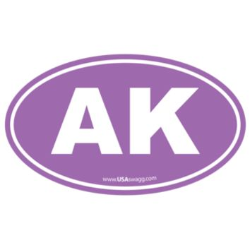 Alaska AK Euro Oval Sticker PURPLE