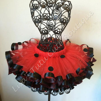 Lady bug tutu. Satin ribbon trim. Pageant tutu. Ribbon trim tutu.