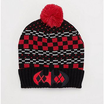 Harley Quinn Checkered Pom Beanie - Spencer's