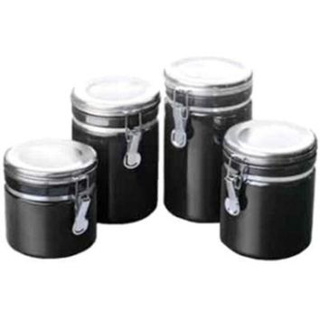 ONETOW Canister Set Black Ceramic 4pc