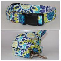 Shades of Blue Dog Collar and Leash set