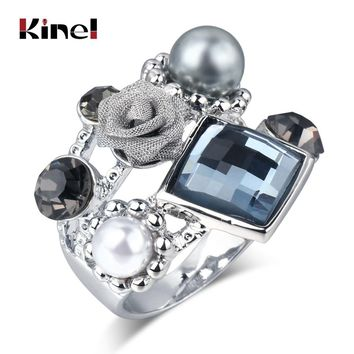 Kinel New Unique Design Punk Rose Ring For Women Fashion Antique Silver Mosaic Austrian Crystal Pearl Vintage Wedding Jewelry