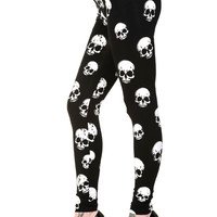 Plus Women's Banned Apparel Rockabilly Skull All Over Black Leggings