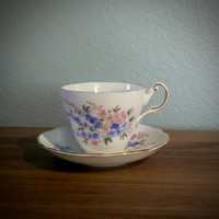 Regency pink and blue wild flower tea cup and saucer, English bone china teacup, flower tea set
