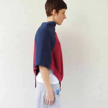Sweatshirt Poncho for Her / Navy Blue / Merlot / Wine / Capalet / Shawl / Eco Friendly / Spring / Winter / Women / Gift for Her / ohzie