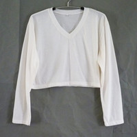 Plain crop top long sleeve v neck /women shirts/ crop shirt/ off-white Cream tshirt size XS S M L XL