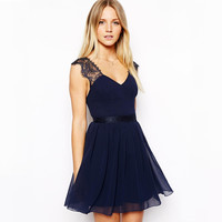 Dark Blue Backless V-Neck High-Waisted Chiffon Dress