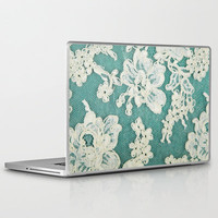 white lace - photo of vintage white lace Laptop & iPad Skin by Sylvia Cook Photography | Society6