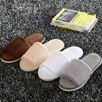 New Women Men Open Toe Winter Slippers Warm Slippers Coral velvet House Indoor Shoes