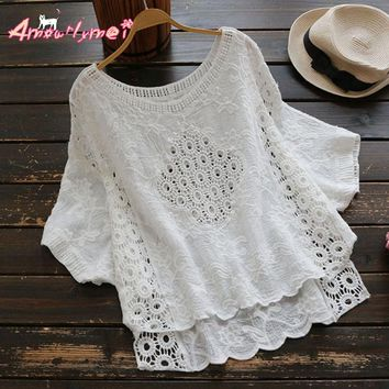 White Hollow Out Embroidered Lace O-neck Loose Batwing Sleeve Cotton Linen Blouse Mori Girl 2017 Summer New Women Shirt Tops