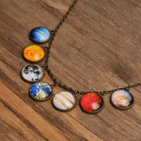 Solar system necklace, planet necklace, universe necklace, galaxy necklace, antique brass pendant, glass necklace, glass dome necklace