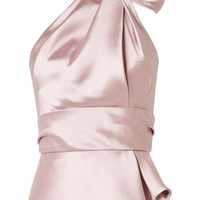 Brandon Maxwell - Bow-embellished satin-twill halterneck top