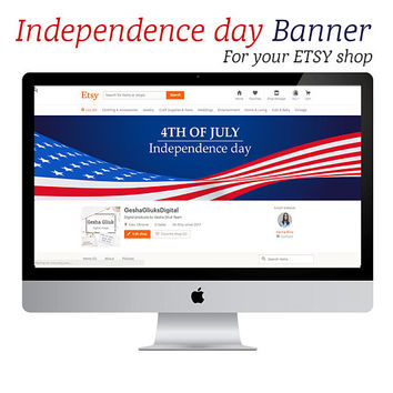 4TH OF JULY Banner. Independence day cover banner for etsy shop.  Cover Banner.  Banner.