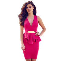 R70066 High quality solid deep v-neck women dress 2015 new arrival ohyeah summer dresses fashion working lady two piece dress