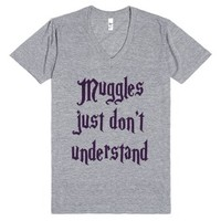 Muggles-Unisex Athletic Grey T-Shirt