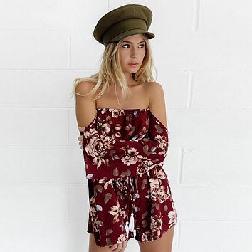 Red Wine Off Shoulder Long Sleeve Floral Romper [11545459599]